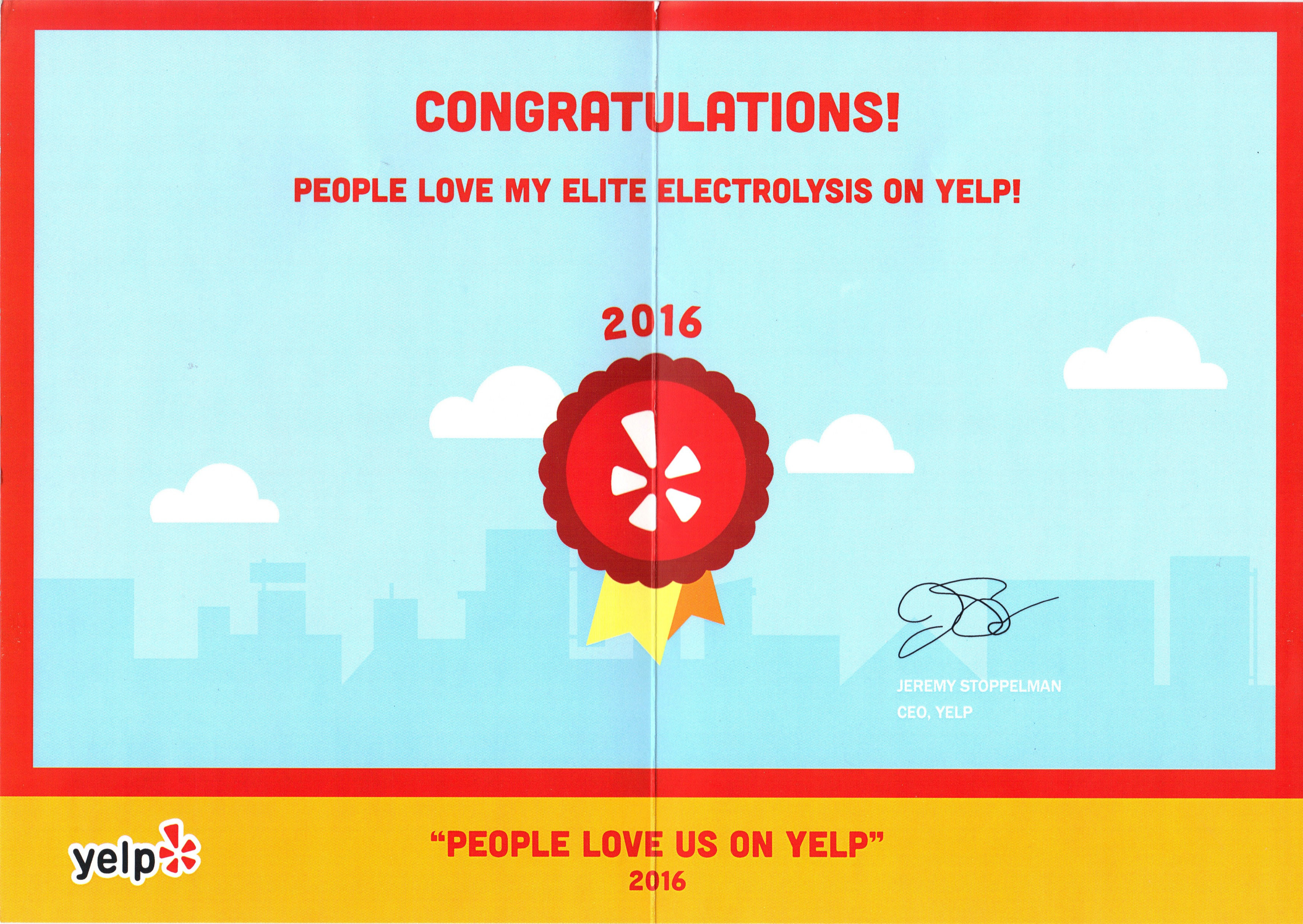 YELP recognition